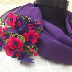 Turkish OYA Lace - Flower stole/Purple - Scarf Shawl For Her Gift For Women Winter Scarf Women Fashion Accessories