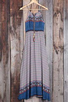 Cupshe Blue Ocean Printing Slip Long Dress
