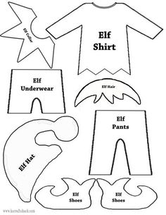 Felt Elf on the Shelf Doll with Free Printable Template - - Elf clothes and parts template Source by Preschool Christmas, Christmas Crafts For Kids, Christmas Activities, Xmas Crafts, Christmas Projects, Christmas Templates, 2nd Grade Christmas Crafts, Office Christmas, Christmas Sewing