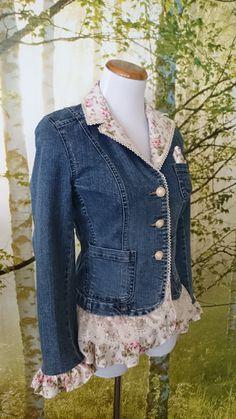 Women's denim jacket embellished with by MiaBellaOriginalBags