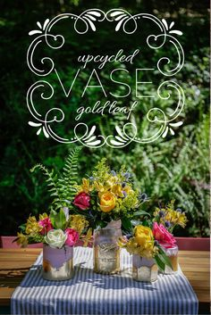 Upcycle Mason jars into beautiful gold leaf vases! >> http://blog.hgtv.com/design/2015/05/06/make-mom-an-upcycled-gold-leaf-vase-for-mothers-day/?soc=pinterest