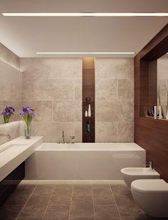 bad modern gestalten mit licht_modernes badezimmer mit eingebauten deckenleuchten und holzwandverkleidung