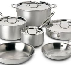 All-Clad 700508 Professional Master Chef 2 Stainless Steel Tri-Ply Bonded Oven Safe PFOA Free Cookware Set, Silver >> Awesome product. Click the image : Cookware Sets Cookware Set, Kitchen Tools, Kitchen Dining, Kitchen Appliances, Kitchen Ware, Kitchen Things, Kitchen Items, Kitchen Stuff