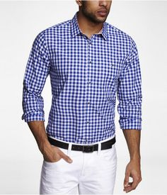 Express Mens Fitted Gingham Plaid Shirt Bottle Blue, X Large Casual Outfits, Men Casual, Casual Clothes, White Pants Outfit, Mens Designer Shirts, How To Look Handsome, Power Dressing, Gentleman Style, New Wardrobe