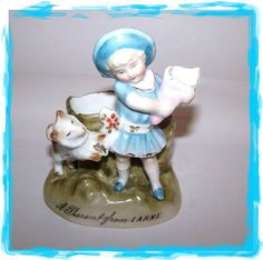 Victorian Era Souvenir Match Holder Girl Dog A by ATokenOfLove Girl And Dog, Blue Bonnets, Stamp Making, Victorian Era, Snow Globes, Advertising, Presents, Hand Painted, Shapes