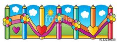 """Download the royalty-free photo """"Fence of pencils, kids playground. Wooden fence decorated with flowers, hearts, grass. Cartoon background sun on blue sky and clouds, grass. Vector illustration. Kids Banner"""" created by sofiartmedia at the lowest price on Fotolia.com. Browse our cheap image bank online to find the perfect stock photo for your marketing projects!"""