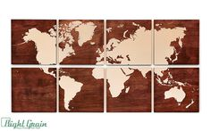Large World Map Wall Art on Dark Wood Grain Panels by RightGrain Map Painting, Large Painting, Wooden Map, World Map Wall Art, Dark Stains, Extra Large Wall Art, Dark Wood, Arts And Crafts, Vbs Crafts