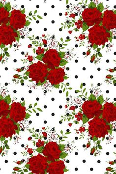 Red Roses and Black and White Polka Dots . By Artist ka_lou Classic roses with a hipster twist on this black and white background. Available on fabric, wallpaper, and gift wrap. Best Flower Wallpaper, Flower Background Wallpaper, Rose Wallpaper, Cute Wallpaper Backgrounds, Flower Backgrounds, Pretty Wallpapers, Iphone Wallpaper, Fabric Wallpaper, Iphone Backgrounds