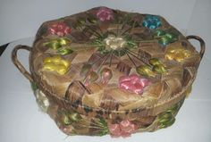 Vintage Woven Wicker Sewing Basket with Raffia Flowers with Lid - Philippines
