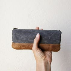 Pencil Pouch in Slate Waxed Canvas and Leather // Zipper Case // Charcoal Gray. $30.00, via Etsy.