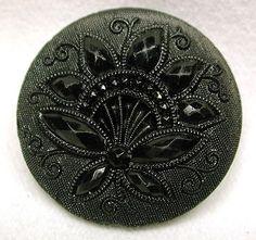 Antique Black Glass Button Fancy Lacy Floral Design