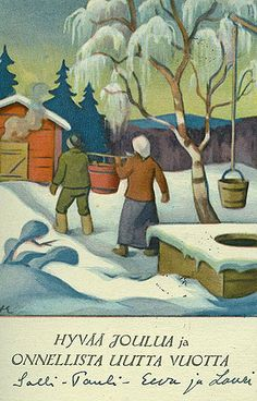 """""""Merry Christmas and Happy New Year""""- joulusauna by Martta Wendelin Childrens Christmas, Christmas Art, Winter Christmas, Vintage Christmas Images, Winter Images, Snowy Day, Merry Christmas And Happy New Year, Scandinavian Christmas, Finland"""