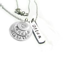 Rectangle Layered Hand Stamped Necklace Personalized Pendant engraved gift for Birthday Wedding