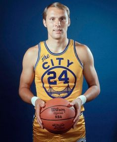 "NBA HOF'er Rick Barry wearing the Warriors' classic ""The City"" design, which is considered by many, including myself, to be the best uniform in basketball history."