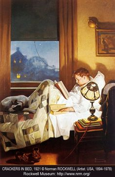 Crackers in Bed, 1921 © Norman ROCKWELL (Artist. USA, 1894-1978).  Night, Bedtime, Patchwork Quilt. Boy reading in bed with a sleeve of soda crackers for a snack. Pet dog. Nostalgia ... About the artist:  http://en.wikipedia.org/wiki/Norman_Rockwell   Rockwell MUSEUM: http://www.nrm.org/   LICENSING Co: http://www.rockwelllicensing.com/  Promote our MUSEUMS (where funding is often iffy). Give credit where due. Link directly to the artist's websites.