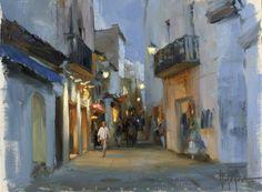 TWILIGHT IN TOSSA DE MAR, oil on canvas painting. Painter Vladimir VOLEGOV
