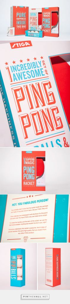 Stiga Ping Pong Packaging; A colorful and fun line of table tennis products directed towards a young target audience. | Designed by Erik Berger Vaage