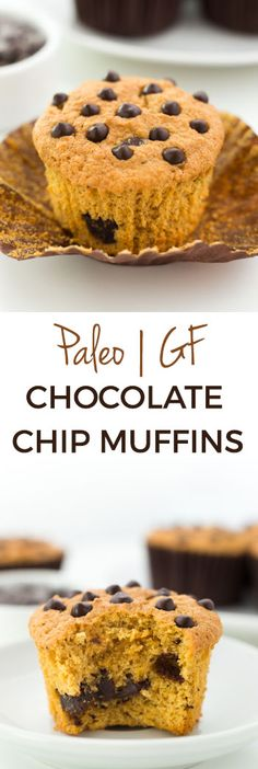 These Paleo Chocolate Chip Muffins have a great texture similar to angel food cake! With a how-to recipe video. #paleo #grainfree #glutenfree #healthy #recipe