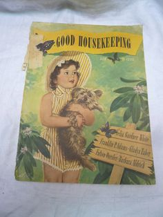Darling Good Housekeeping cover art from June 1944 shows a little girl in matching dress and bonnet with her little dog. Description from etsy.com. I searched for this on bing.com/images