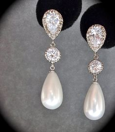 Bridal Jewelry - Pearl earrings - Sterling Silver - Long - pearl drop earrings - Brides earrings - Formal jewelry -. $39.99, via Etsy.