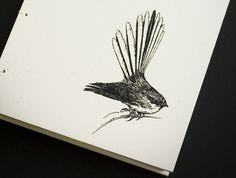Items similar to Fantail (Piwakawaka) Coptic Bound Journal on Etsy New Zealand Art, Pretty Birds, Tattoo Inspiration, Typography Design, Body Art, Moose Art, Journal, Paper, Drawings