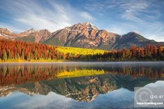 Pyramid Mountain reflected in Patricia Lake in Autumn, Jasper National Park, Canada. nature, landscape, rocky mountains