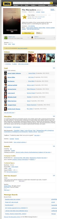"""Fan IMDB page for """"The Marauders"""".  Sadly not real, but read EVERYTHING, not just the cast list.  The brilliance is in the details."""