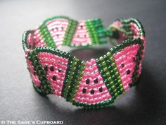 Watermelon Bracelet. Hot Pink and Dark Green Wavy Beaded Wedges Cuff