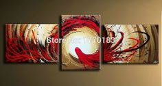 Find More Painting & Calligraphy Information about  3 pieces hand painted Magic abstract oil painting on canvas red sun dragon art painting modern home decoration art sets gift,High Quality decorative gift bows,China gifts mini Suppliers, Cheap gift package decorations from Ideas Painting Salon on Aliexpress.com