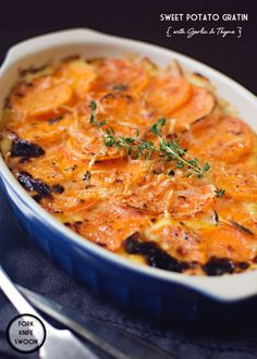 Sweet Potatoes, Gruyere, Cheddar. Garlicky Cream and Fresh Thyme come together to create a delicious Sweet Potato Gratin.