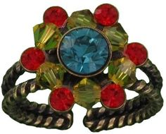 Konplott Multi Duchess Ring  This delicate floral shaped ring in blue, red and yellow is from Miranda Konstantinidou's 'Dutchess' collection. It is a versatile piece that will look great worn with jeans but will also add a bit of bling to an evening outfit. The band is adjustable.