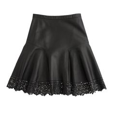 Collection plaza skirt in laser-cut leather : Mini   J.Crew