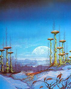 Alien landscape inspiration (Patrick Woodroffe via sci-fi art) Fantasy Kunst, Sci Fi Fantasy, Fantasy World, Sci Fi Kunst, Science Fiction Kunst, Art Visionnaire, Arte Sci Fi, 70s Sci Fi Art, Drawn Art