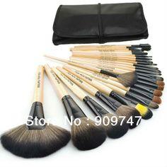 2013 new !! Professional 24 Makeup Brush Set tools Make-up Toiletry Kit Wool Brand Make Up Brush Set Case free shipping $15.99