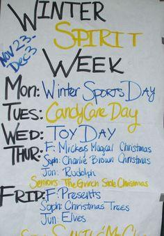 christmas spirit week dress up - photo only Spirt Week Ideas, Spirit Week Themes, Spirit Day Ideas, Spirit Weeks, Homecoming Week, Homecoming Ideas, School Spirit Days, Pep Rally, Theme Days