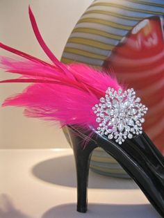 Feather Shoe Clip Shoes Pink Feather by ctroum