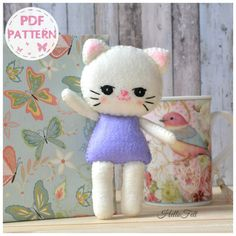 PDF Pattern Felt Cat ballerina Felt Pattern Doll por HelloFelt