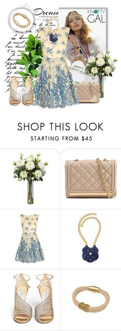 """Knotty Gal in Spring"" by njeh ❤ liked on Polyvore featuring Love Quotes Scarves, ALDO, Alice + Olivia, Knotty Gal, Jimmy Choo and knottygal"