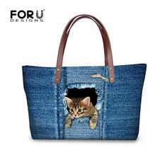 Denim Cat Dog Women Handbags,Leopard Shoulder Bags for Women,Big Beach Bag Woman Summer Animal Ladies Large Tote Bag Big Handbags, Denim Handbags, Fashion Handbags, Balenciaga Handbags, Travel Handbags, Luxury Handbags, Designer Handbags, Animal Print Tote Bags, Printed Tote Bags
