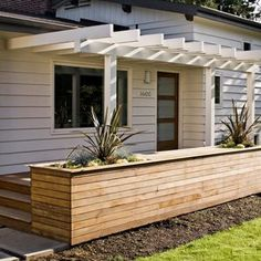 Exciting Front Yard Deck Design Ideas Although old inside thought, your pergola may be Veranda Pergola, Front Porch Pergola, Small Front Porches, Pergola Garden, Front Deck, Pergola With Roof, Outdoor Pergola, Decks And Porches, Backyard Patio