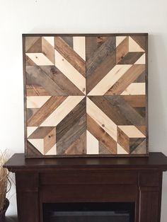 Reclaimed wood wall art, barn star in brown
