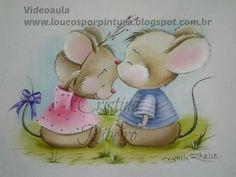 Aula de pintura em tecido completa - Como pintar tema infantil - Ratinhos - YouTube