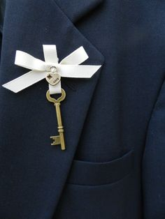 Key to my Heart  Vintage Inspired Boutonniere by ChiKaPea on Etsy, $22.00