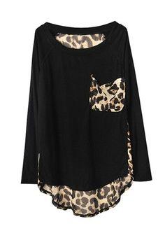 Stylish Round Neck Leopard Print Chiffon Splice Irregular Hem Long Sleeve Loose Fit T-Shirt For Women Look Fashion, Fashion Outfits, Womens Fashion, Looks Style, Style Me, Print Chiffon, Chiffon Tops, Chiffon Shirt, Look Chic
