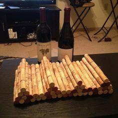 wine rack made of wine corks.