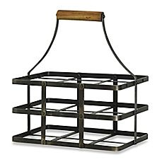 image of 6-Bottle Metal Wine Holder with Wooden Handle