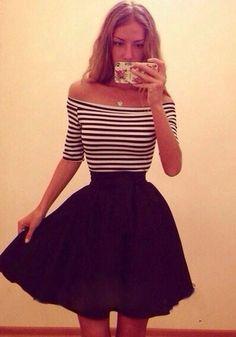 Black Striped Sashes Ruffle Elbow Sleeve Boat Neck Dress