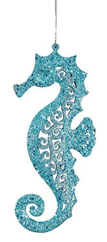 """Hanging Seahorse Christmas Ornament. Not just for Christmas as it is not Christmas specific. Teal blue with glitter finish. Approximately 5.25"""" X 2"""". Coastal Beach Holiday Decor. Hanging Seahorse Christmas Decor."""