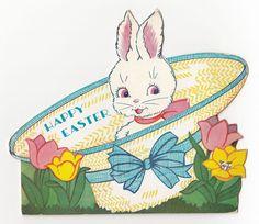 Vintage Greeting Card Easter Die-Cut Bonnet Hat UNUSED Removable Bunny Rabbit
