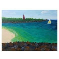 This painting is based on the lighthouse at Ponce Inlet on the East Coast of Florida. Gel medium was used to give the rocks in this painting a beautiful thick glossy texture. Pin to save! One of a kind painting available at my online shop. Landscape Painting Artists, Seascape Paintings, Your Paintings, Original Paintings, Original Art, Ponce Inlet, Lighthouse Painting, Beach Artwork, Gel Medium